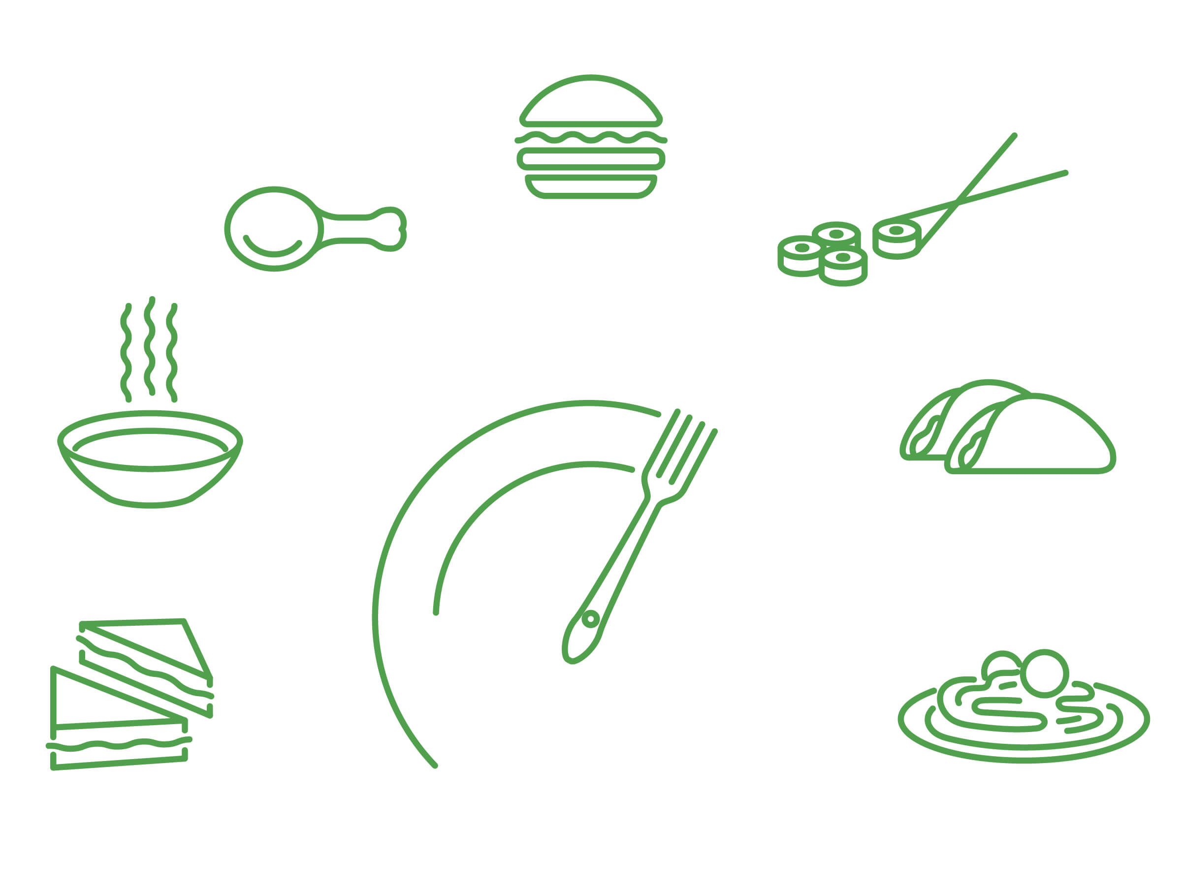 Illustration of food icons.