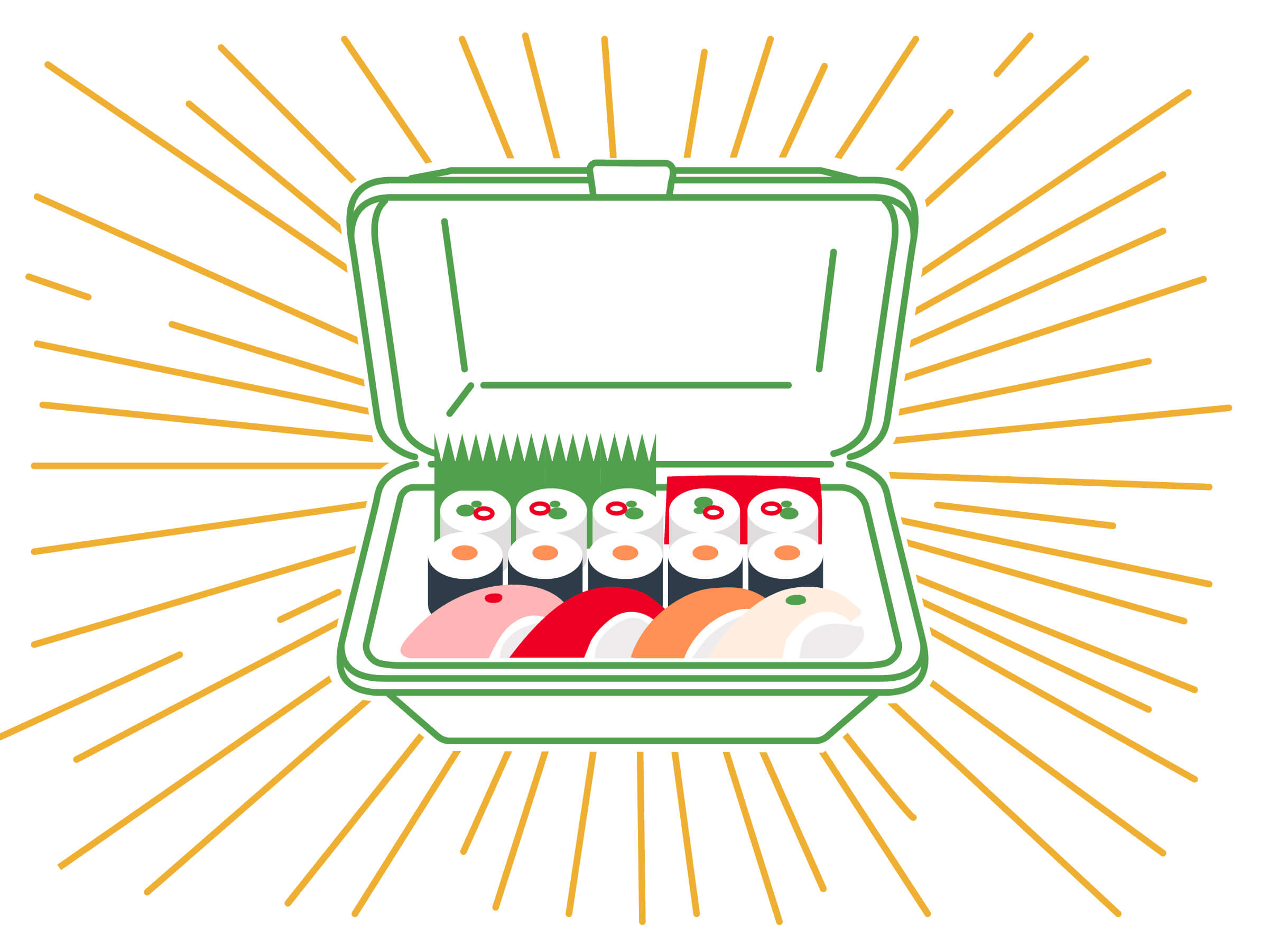 Illustration of sushi in a DeliverZero box.